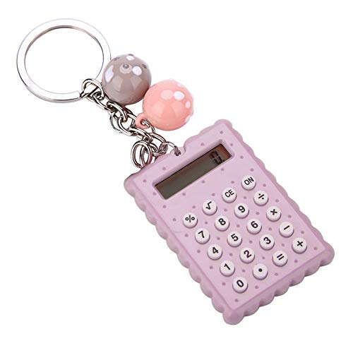 ASHATA Mini Calculator with Key Buckle,Portable Cute Cookies Style Key Chain Calculator,Student Pocket Calculator with Candy Color(Gray Purple)