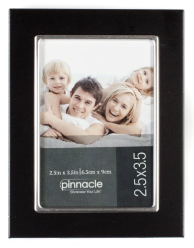 Pinnacle 2.5x3.5 Black and Silver Metal Tapletop Picture Frame