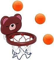 Cabilock 1 Set Baby Bath Basketball Hoop Cartoon Bear Shape Basketball Training Net Water Floating Ball for To
