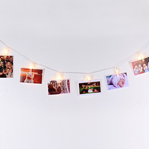 LED Photo Display String Lights with Timer Automatically ON/OFF Warm White 15ft/4.5m for Hanging Pictures Photos Cards and Notes Battery Powered, Photo Banner, Wall Decor Essential by Mojocraft
