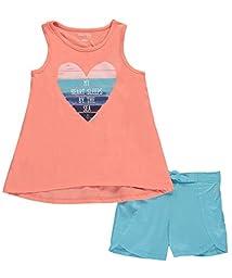 Nautica Big Girls\' Graphic Tee Tank Top and Fashion Short Set, Light Melon, 8