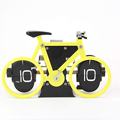 TOOGOO Automatic Page Turning Clock Creative Bicycle Turning Clock Desktop Silent Clock Suitable for Home Office Desktop Decoration ()