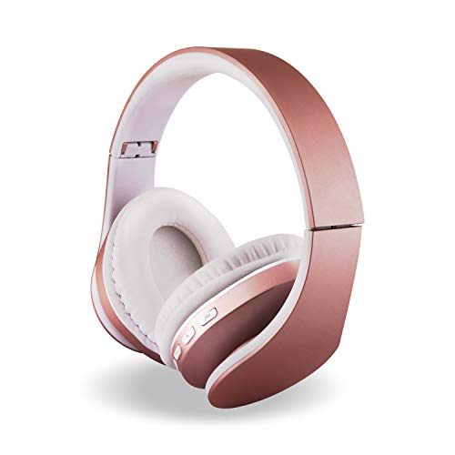 Alltrum Over-Ear Headphones,Hi-Fi Stereo Headset,Adjustable Headsets for Traveling/Sports/Relaxation,Foldable Headphones with Microphone and Music Playback for Most of Smartphones,Rose Sun Gold