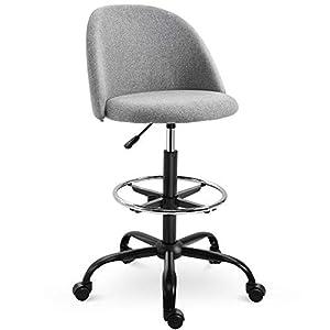 Chaise de bureau assise haute réglable 97,5-119H cm pivotant 360° lin gris
