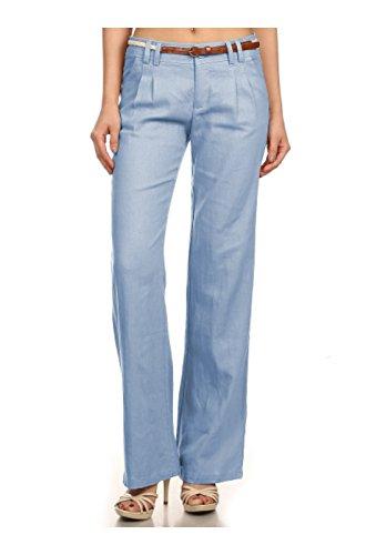 2LUV Women's Dressy Wide Leg Linen Pants W/ Skinny Belt Light Blue L (PT569)