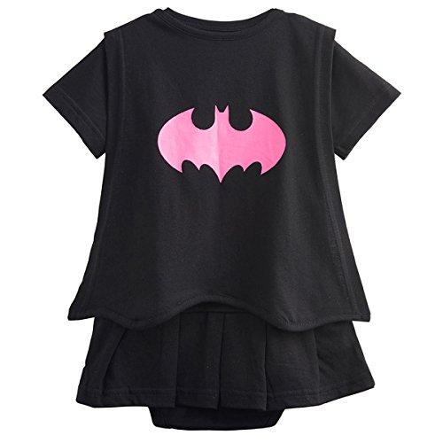 Kiddomania Baby Toddler Boy/ Girl Superhero Bodysuit Romper Onesie Costume (100 (18-24 Months), Black (Batgirl Toddler Costume)