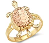 Size- 9 - 14k Yellow White Rose Tri Color Gold Ladies Turtle Ring