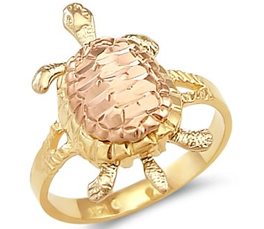 - Size- 11.5 - 14k Yellow White Rose Tri Color Gold Ladies Turtle Ring