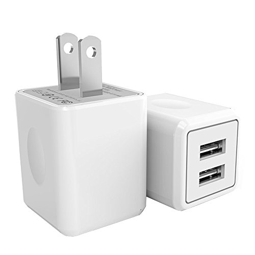 USB Wall Charger, 2-Pack 2.1A/5V Dual Port USB Plug Power Adapter Charging Cube Compatible iPhone X 8/7/6 Plus SE/5S/4S,iPad, iPod, Samsung, Android Phone -White by UltraSealers