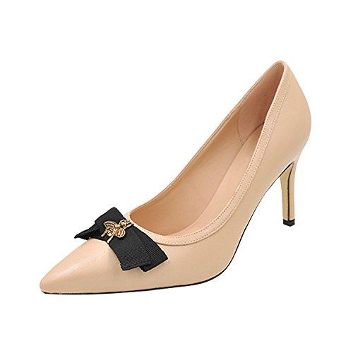 profonda filtro Alta tacco 8 bow punta scarpe bocca piccole estiva tie di poco tacco 5 beige belle classico scarpe alta con 35 il cm api scarpe beige pqvHrp