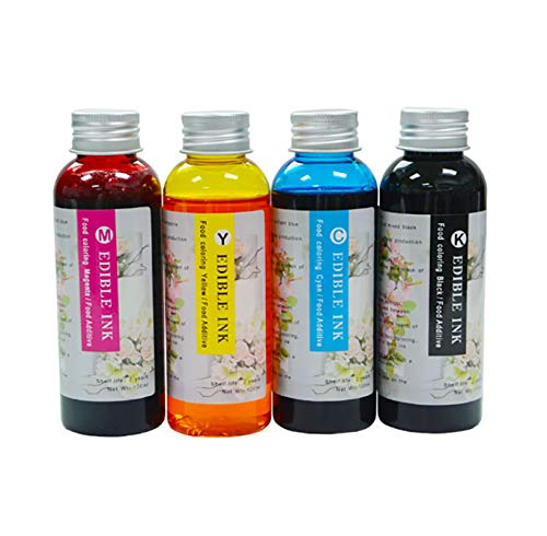 Yaink Made 4PK 100ML refillable Edible Ink Compatible for HP 803 Ink Cartridge for Cake Chocolate Coffee and Food Edible Printer Ink