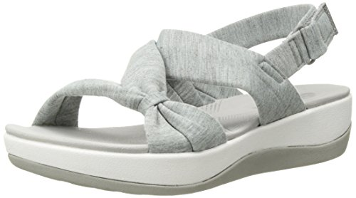 CLARKS Women's Arla Primrose Sandal, Grey Heathered Fabric, 8 Medium US