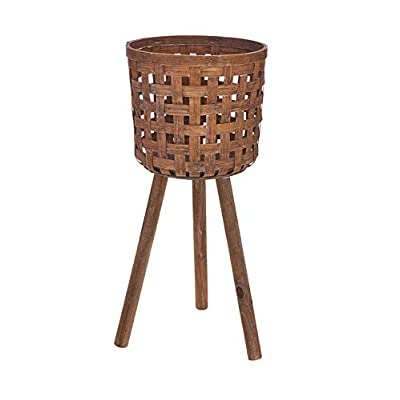 """25.75"""" Brown Contemporary Round Bamboo Basket on a Stand : Garden & Outdoor"""