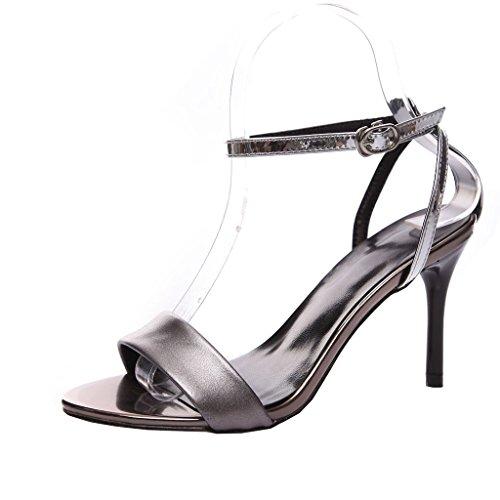 Enmayer Femmes Boucle Sangle Hauts Talons Ouvert Orteil Solide Occasionnels Parti Chaussures Stiletto Été Chaussures Sandales Gris Argent