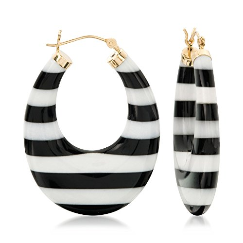 Ross-Simons Black and White Agate Earrings in 14kt Yellow Gold ()