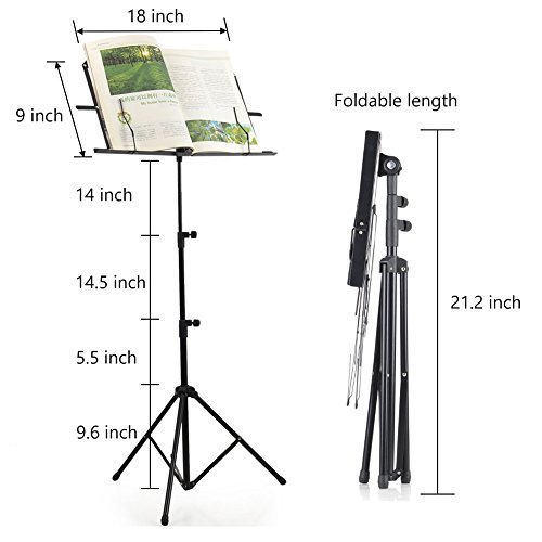 ADM Folding Adjustable Music Stand with Carrying Bag, Portable Metal Holder for Sheet Music, Black by ADM (Image #1)