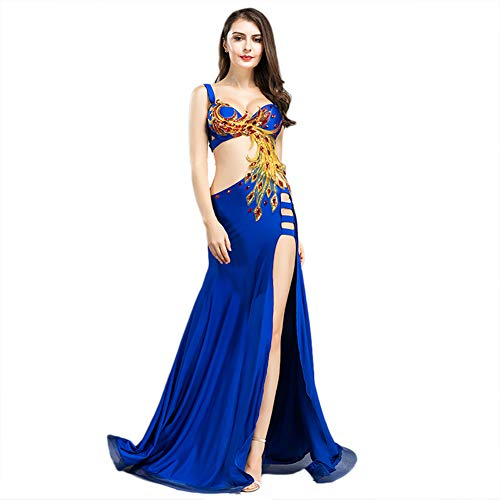 ROYAL SMEELA Belly Dance Costume for Women Professional Belly Dancing Skirt Phoenix Belly Dance Dress, Blue, Small Size -