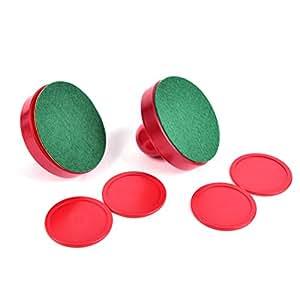 Jone plástico 2pcs Empujador de mesa de Air Hockey mazos mazo y 4pcs Rojo objetivo 5piezas asas remos juego de repuesto para cuadros, equipo, accesorios