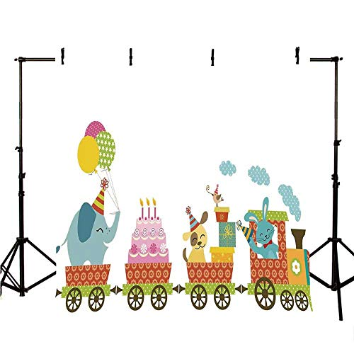 Birthday Decorations for Kids Stylish Backdrop,Happy Cartoon Cake Animals Balloons in a Party Train Image for Photography,118
