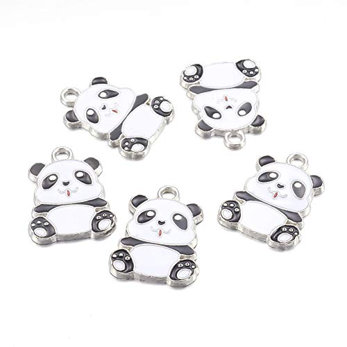 Panda Bear Charm - Craftdady 5Pcs Alloy Enamel Black and White Panda Charms 27.5x21mm DIY Jewelry Necklace Earring Bracelet Craft Making Animal Pendants with 3mm Hole