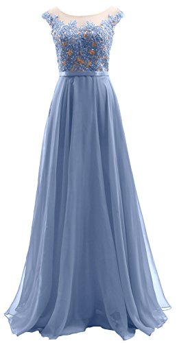 Wedding Long Prom Dress MACloth Dress Himmelblau Sleeves Cap Chiffon Lace Illusion Party 8wSAf