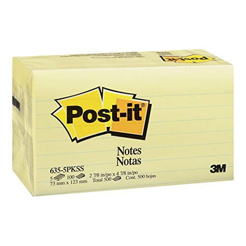 Post-it Notes, America's #1 Favorite Sticky Note, 3 x 5-Inches, Canary Yellow, Lined, 5-Pads/Pack