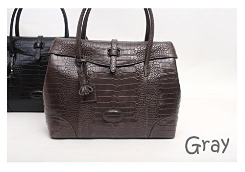 Fashion Crocodile Pattern Leather Shoulder Handbag 4 Color (Grey) by PRISTINE&BB (Image #2)