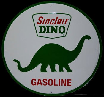 Embossed Sign - Sinclair Dino Gasoline large 24