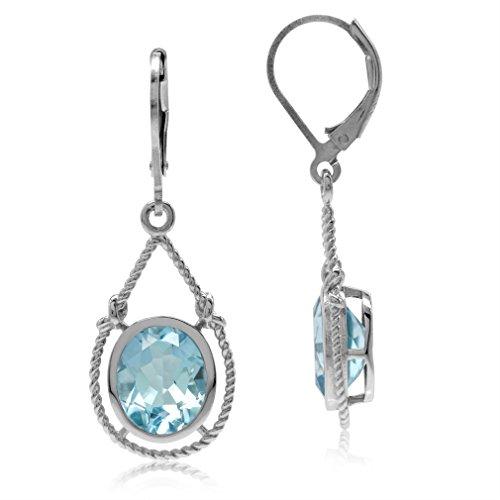 6.06ct. Genuine Oval Shape Blue Topaz 925 Sterling Silver Rope Knot Drop Dangle Leverback (Blue Topaz Rope Earrings)