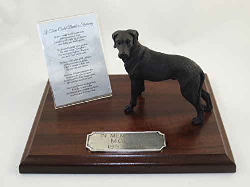 Beautiful Walnut Finished Personalized Memorial Plaque With Uncropped Black Great Dane - Dane Urn Great