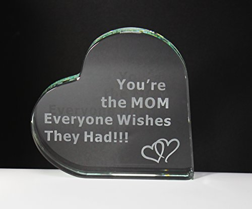Mother Plaque Glass (Gift for Mom You're the MOM Everyone Wishes They Had Mothers Day Birthday Best Present from Son Daughter Husband Crystal Glass Heart Sentimental Saying Engraved Unique Figurine Decoration Gift Box)