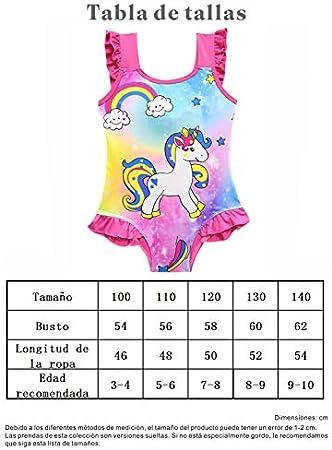 Monissy Niña Verano Ropa de Playa Sin Mangas Unicornio Arco Iris Lazo Volantes Poliester Bañador de Una Pieza Vacaciones Cumpleaños Natación Piscina 3-10años 100-140 Trajes de Baño