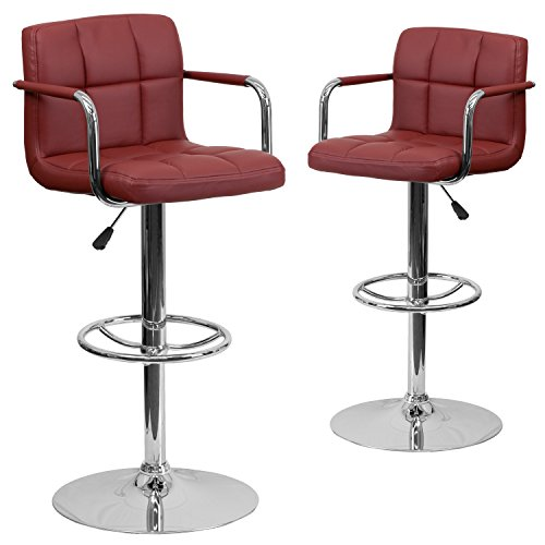 Flash Furniture 2 Pk. Contemporary Burgundy Quilted Vinyl Adjustable Height Barstool with Arms and Chrome Base ()