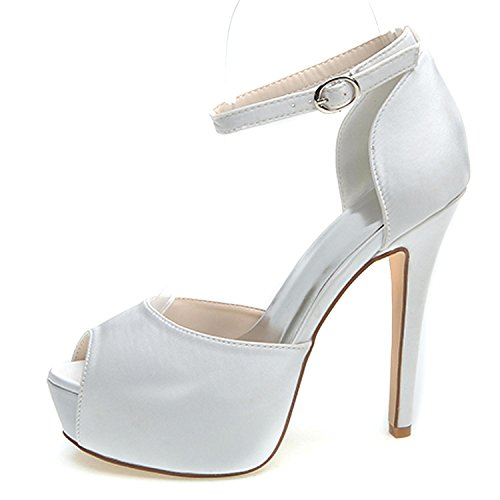 Bridal Heels Lace Mid Women Buckle RF591 Platform Summer Shoes Elobaby High Wedding RXaxp