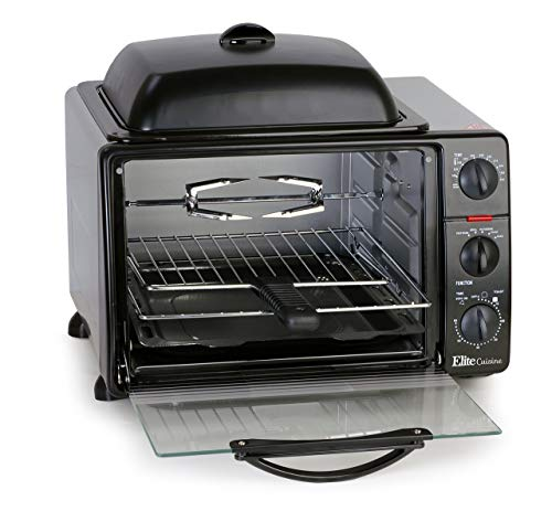 """Elite Cuisine ERO-2008S Countertop Toaster Oven with Top Griddle Rotisserie, Bake, Grill, Broil, Roast, Toast, Keep Warm, 23L Capacity, fits a 12"""" Pizza, 6-Slice, Black (Certified Refurbished)"""