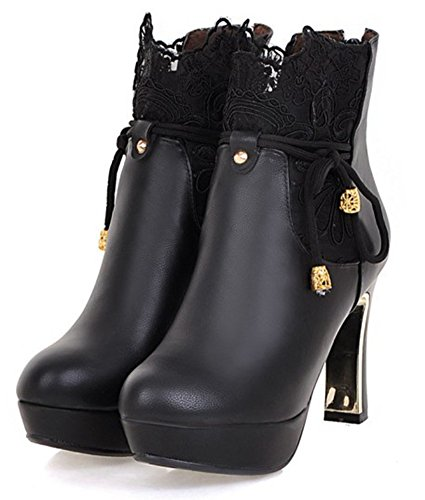 Lace Toe Zipper Round With Short Black Ankle Comfy High Up Block SHOWHOW Booties Women's Heel Platform XxAE6qFBw
