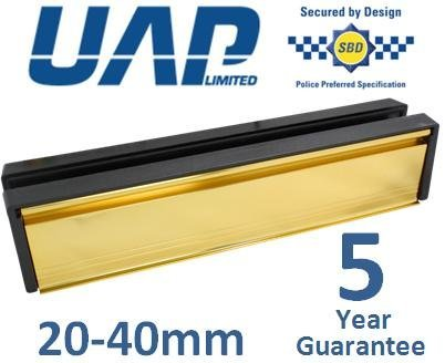 12' Letterplate (for 20-40mm thick doors) with a Gold Flap and Black Frame UAP
