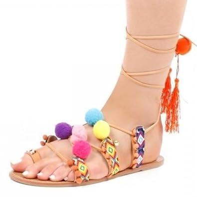 73675a69e Amazon.com | Favoridol Women's Bohemia Pom Pom Gladiator Tie Up Flat ...