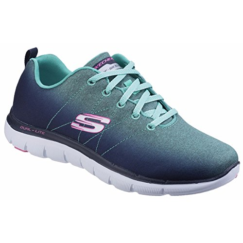 Skechers Flex Appeal 2.0 High Energy, Baskets Basses Femme Bleu marine/Aqua