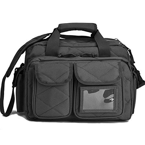 REEBOW TACTICAL Tactical Gun Range Bag Deluxe Pistol Shooting Range Duffle Bags Black (Best Pistol Range Bag)