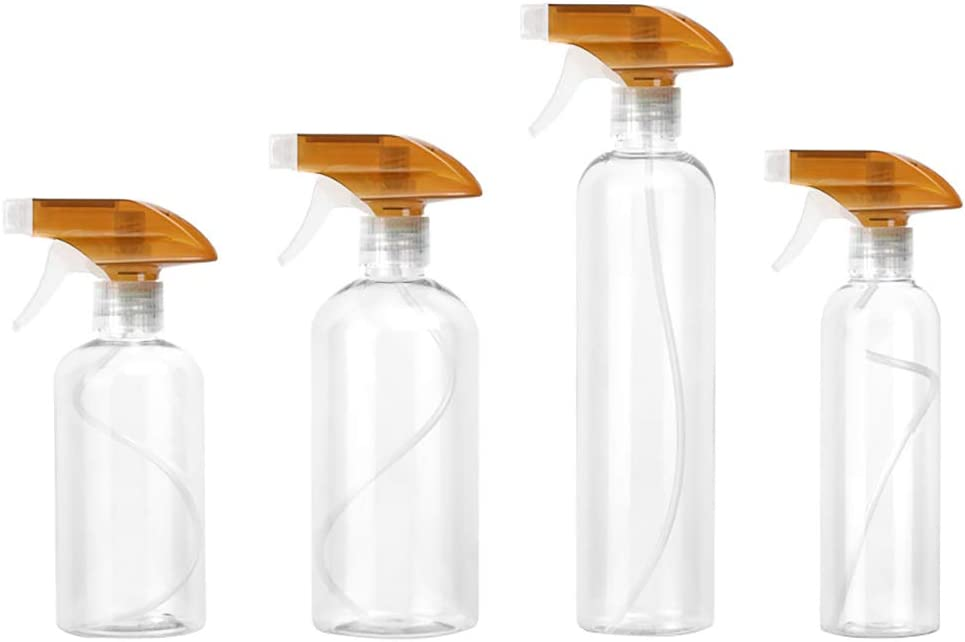 Chiconon Pack of 4 Spray Bottles, Leak Proof, Transparent Empty Bottle for Chemical and Cleaning Solutions, Adjustable Head Sprayer Fine to Stream