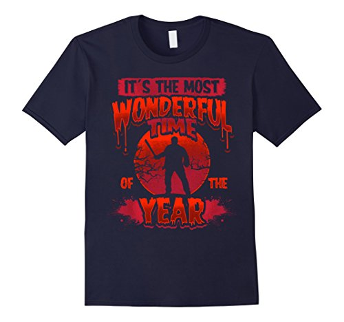 Mens The Most Scariest Time T-Shirt, Scary Halloween Butcher Tee Small Navy