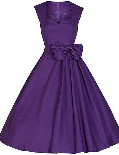 PU&PU Robe Aux femmes Gaine Bohème / Street Chic,Couleur Pleine Asymétrique Mi-long Coton / Polyester , purple-2xl , purple-2xl