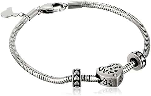 Disney Beads Stainless Steel Charm Bracelet Starter with Bead Charm and Two Stoppers