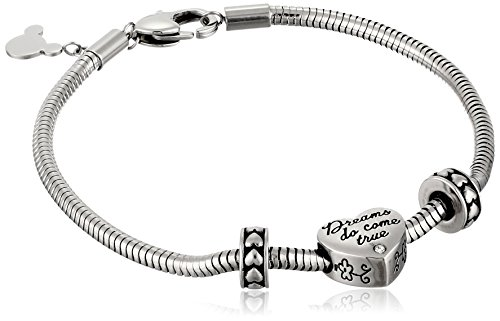 #Belong Disney Stainless Steel Heart Bead Charm 2 Stoppers Small and Medium Starter Bracelet, 7.5