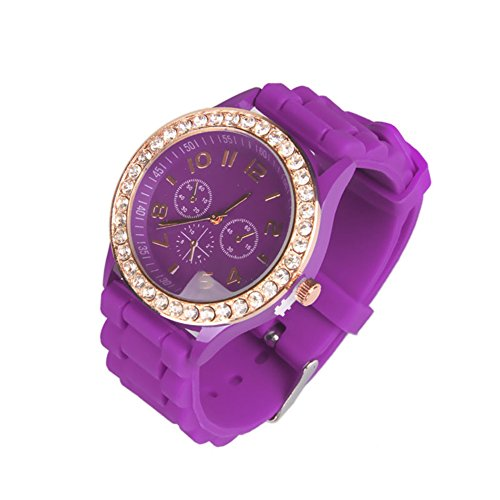 OFTEN Ladies Women Girl Silicone Quartz Crystal Stone Jelly Wrist Watch