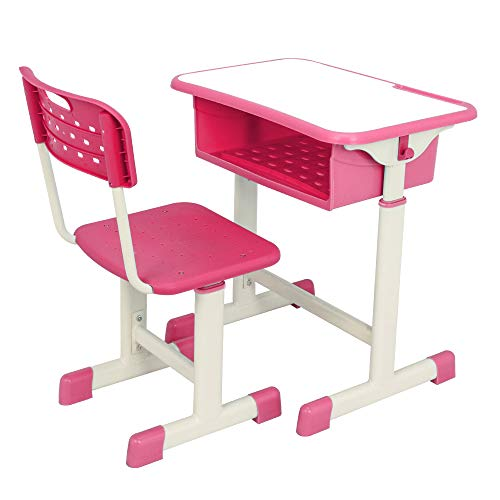 Crazyworld Student Desk and Chair Set, Height Adjustable Childrens Desk and Chair Workstation with Drawer and Hanging Hooks (Pink)