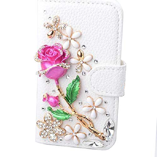 UnnFiko Galaxy Note 5 Wallet Case, Handmade Luxury 3D Bling Crystal Rhinestone Leather Purse Flip Card Pouch Stand Cover Case for Samsung Galaxy Note 5 (Rose Flower) ()