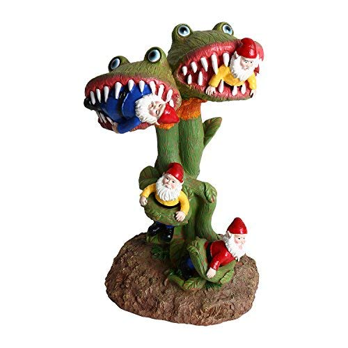 SMYER Garden Gnomes Statue, Carnivorous Flower Massacre, Great for Outdoor Indoor Patio and Lawn Decoration
