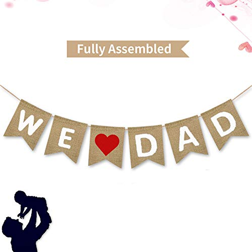 We Love Dad Burlap Banner | Rustic Fathers Day Party Decoration Supplies| Fathers Day Gifts from Son and Daughter ()